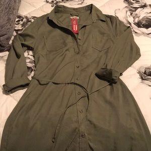 Army green button down dress NWT